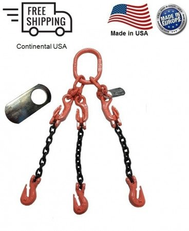 """Chain Sling G100 3-Leg 3/8"""" x 8 ft with Adjusters, Cradle Clevis Grab Hook"""