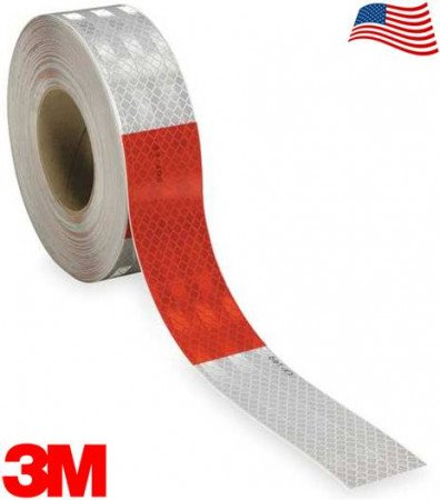 """3M Flexible 963-326 DOT Conspicuity Tape 6"""" White / 6"""" Red 2"""" x 150' Kiss-Cut Every 1 Foot"""