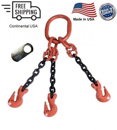 "Chain Sling G100 3-Leg 7/32"" x 8 ft, Cradle Clevis Grab Hook"