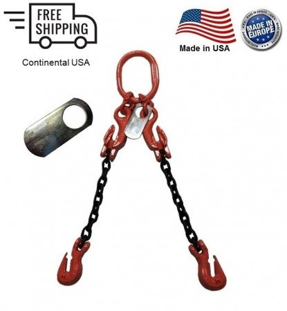 """Chain Sling G100 2-Leg 1/2"""" x 10 ft with Adjusters, Cradle Clevis Grab Hook"""