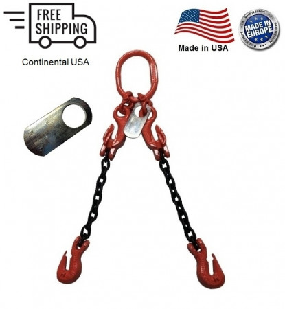 "Chain Sling G100 2-Leg 7/32"" x 15 ft with Adjusters, Cradle Clevis Grab Hook"