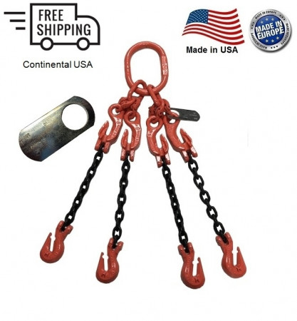 "Chain Sling G100 4-Leg 7/32"" x 20 ft with Adjusters, Cradle Clevis Grab Hook"