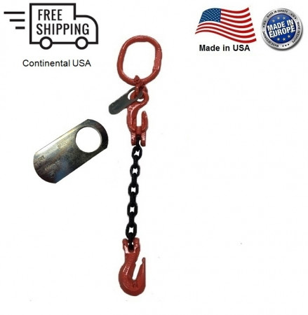 "Chain Sling G100 1-Leg 3/8"" x 8 ft with Adjuster, Cradle Clevis Grab Hook"