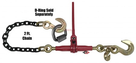 "Durabilt Ratchet Binder w/ D-Ring, 3/8"" Grab & 1/2"" Sling Hook, & 2' G8 Chain & 1/2"" Sling Hook"