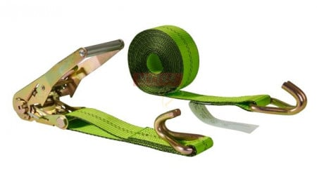 2 in. x 15 ft. Ratchet Straps with Wire Hook - Safety Green