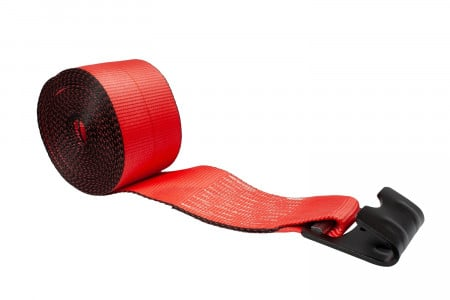 """4"""" x 30' Winch Strap with Flat Hook - Red"""