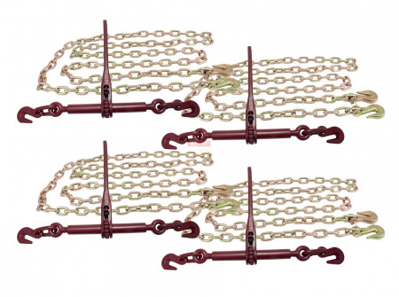 5/16 12' G70 Chain (4) and Ratchet Binder Boomer (4) Transport Chains