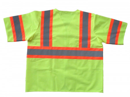 Safety Vest Class 3 Fluorescent Yellow w/ Orange Trim & Silver Tape - Large