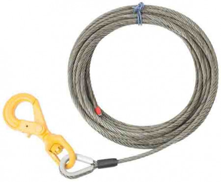 """Wire Rope Steel Core Winch Cable 1/2"""" x 75' Self-Locking Swivel Hook"""