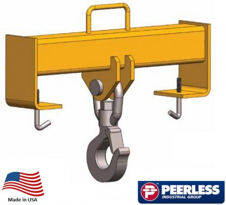"Fork Truck Hook Beam Swivel, 5 Ton Capacity, Fork 24"" Spread"