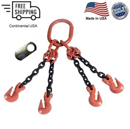 "Chain Sling G100 4-Leg 7/32"" x 15 ft, Cradle Clevis Grab Hook"