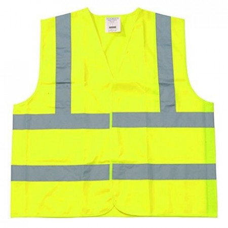 Safety Vest Class 2 Fluorescent Yellow w/ Silver Tape - XL